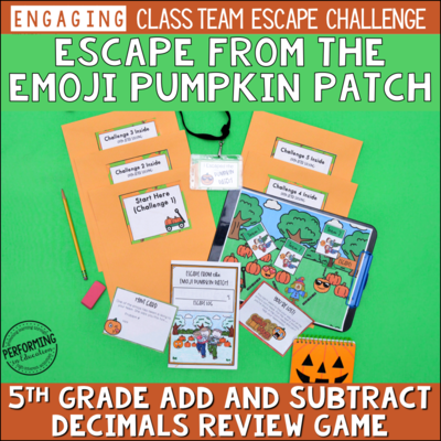 5th Grade Adding & Subtracting Decimals | Pumpkin-Themed Fall Escape Game