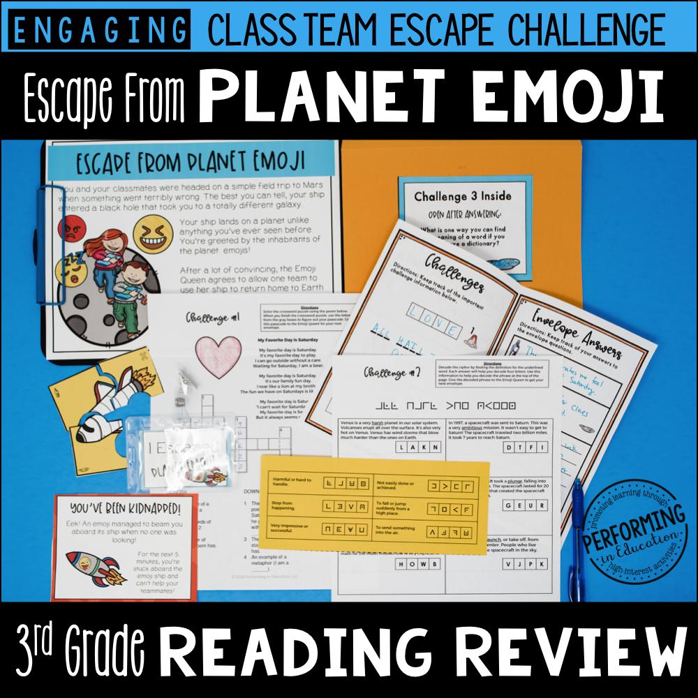 3rd Grade Reading Test Prep Escape Game | Escape from Planet Emoji!