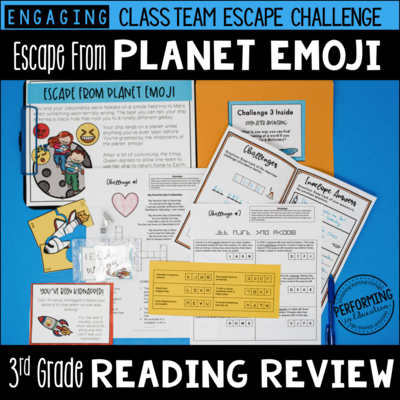 3rd Grade Reading Test Prep Escape Game | Escape from Planet Emoji!
