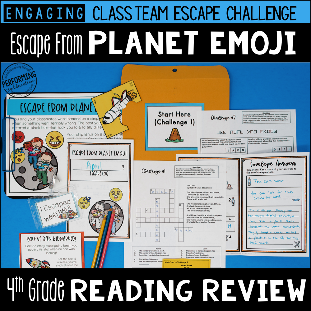 4th Grade Reading Test Prep Escape Game | Escape from Planet Emoji!