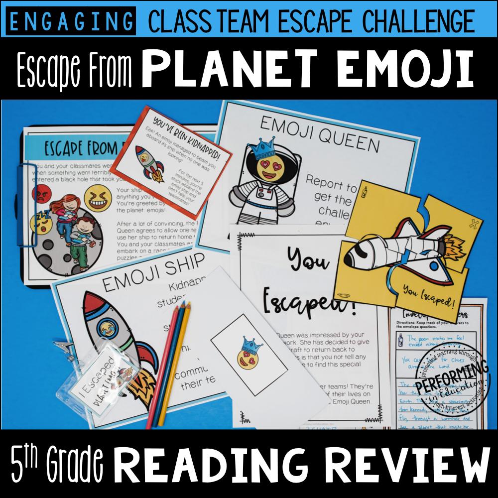 5th Grade Reading Test Prep Escape Game   Escape from Planet Emoji!
