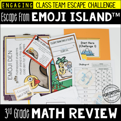 3rd Grade Escape from Emoji Island® | Math Test Prep Escape Room