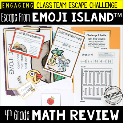 4th Grade Escape from Emoji Island® | Math Test Prep Escape Room
