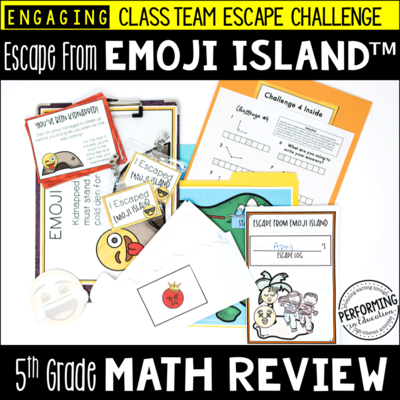 5th Grade Escape from Emoji Island® | Math Test Prep Escape Room
