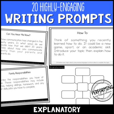Explanatory Writing Prompts (Print & Digital)