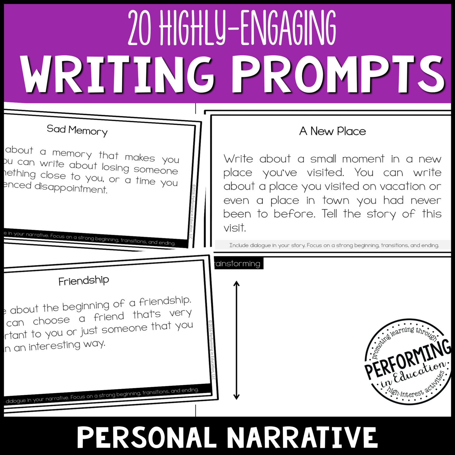 Personal Narrative Writing Prompts (Print & Digital)