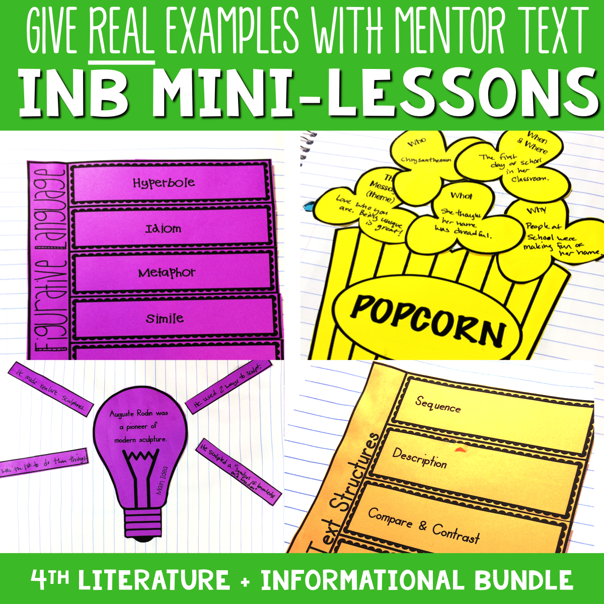 4th Grade Reading Interactive Notebook Mini Lessons ENTIRE YEAR
