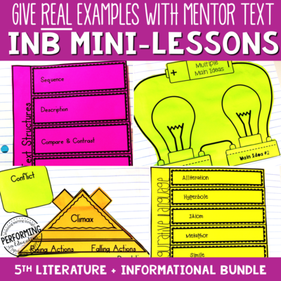5th Grade Reading Interactive Notebook Mini Lessons ENTIRE YEAR