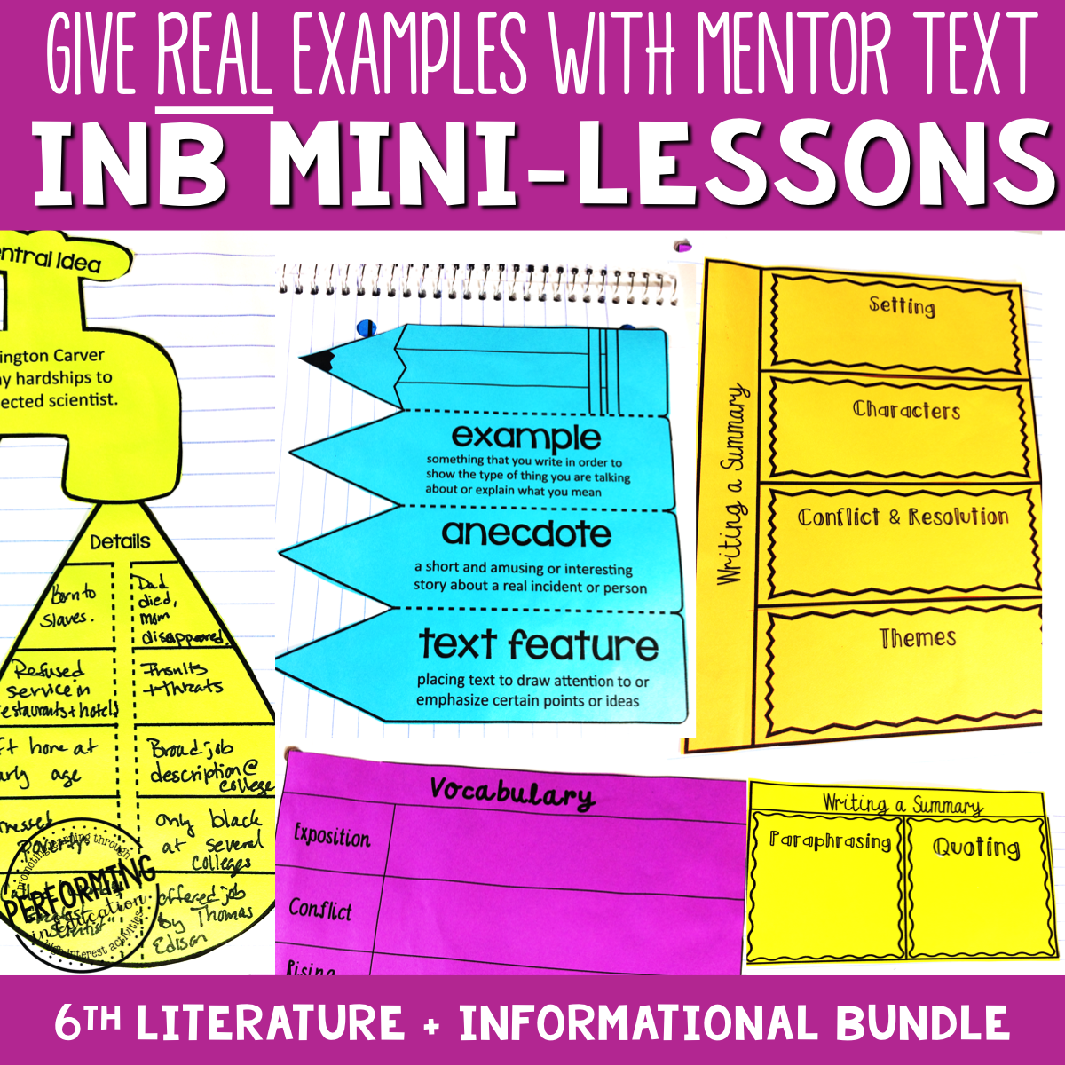 6th Grade Reading Interactive Notebook Mini Lessons ENTIRE YEAR