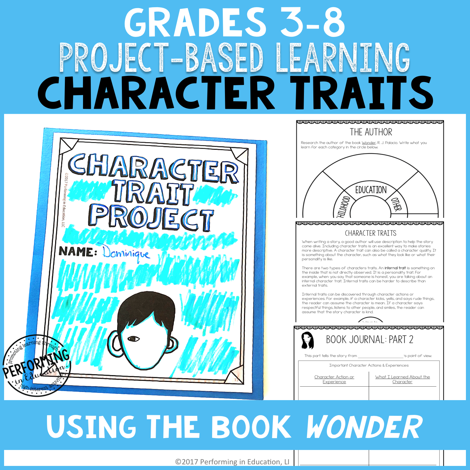 Grades 3-8: Character Traits ELA Project-Based Learning Activity Using Wonder PRINT&DIGITAL