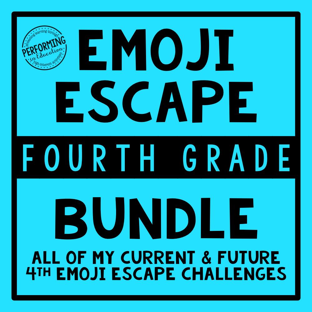 4th Grade Emoji Escape ELA & Math Bundle