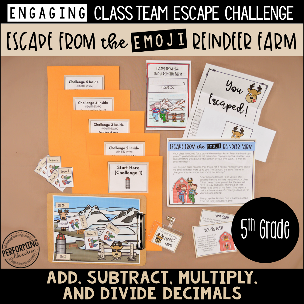 5th Grade Winter Escape Room (Math Review) Escape the Emoji Reindeer Farm!