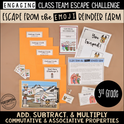 3rd Grade Winter Escape Room (Math Review) | Escape the Emoji Reindeer Farm!