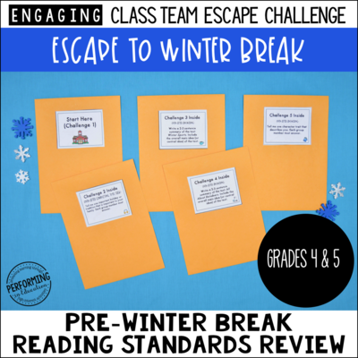 4th & 5th Grade Grade Escape to Winter Break! Reading Escape Room