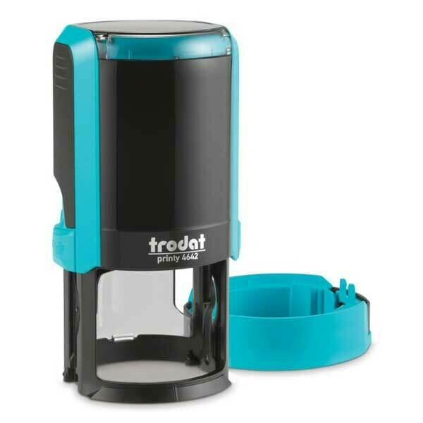 Печать на автоматической оснастке Trodat 4642 P4 NEW, 42 мм (голубой корпус)  Новая крышка!