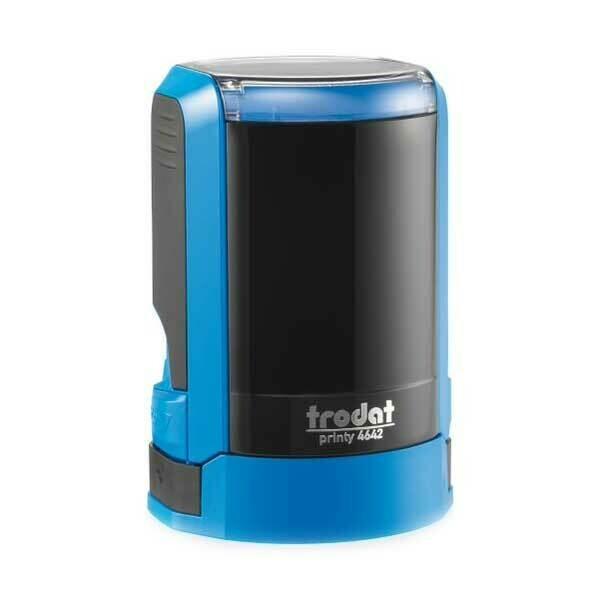 Печать на автоматической оснастке Trodat 4642 P4 NEW, 42 мм (синий корпус)  Новая крышка!