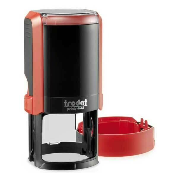 Печать на автоматической оснастке Trodat 4642 P4 NEW, 42 мм (красный корпус)  Новая крышка!