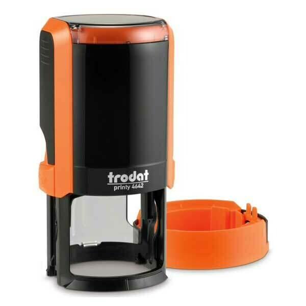 Печать на автоматической оснастке Trodat 4642 P4 NEW, 42 мм (оранжевый корпус)  Новая крышка!