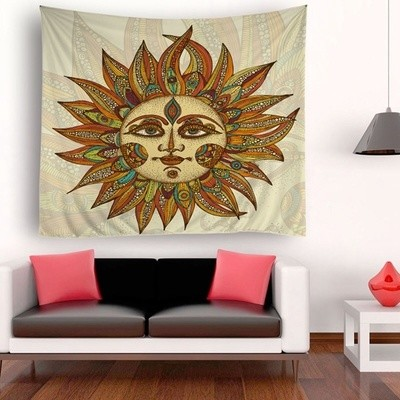 Sun Manhead Face Tapestry