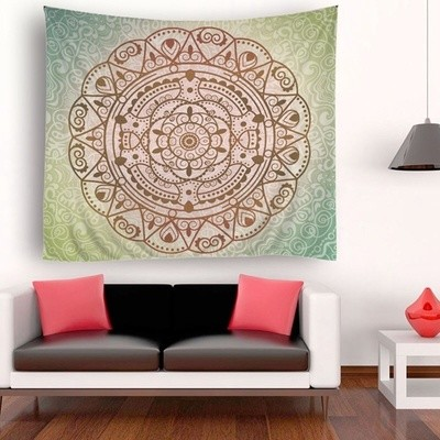 Green Big Circle Tapestry