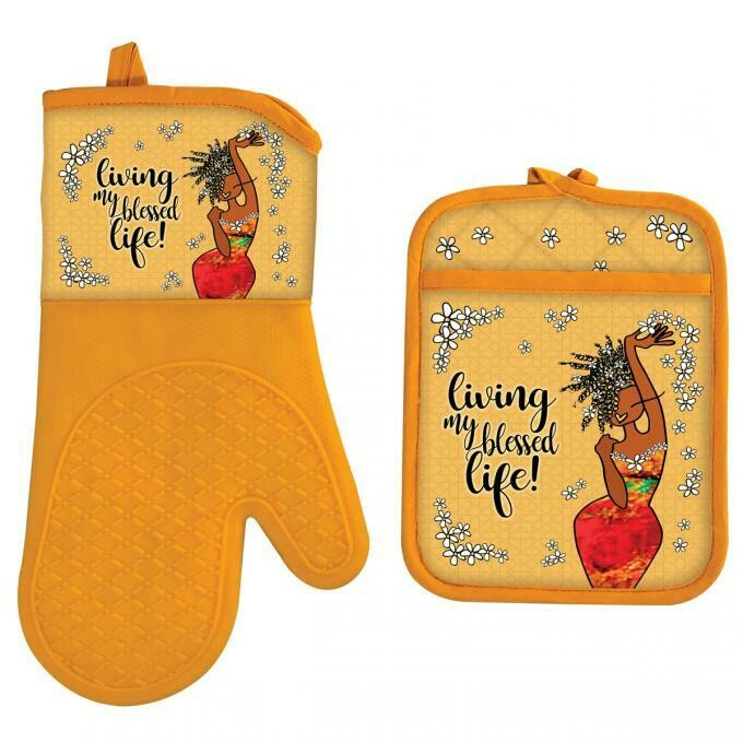 BlackArt Ethnic Oven Mitt & Potholder Set