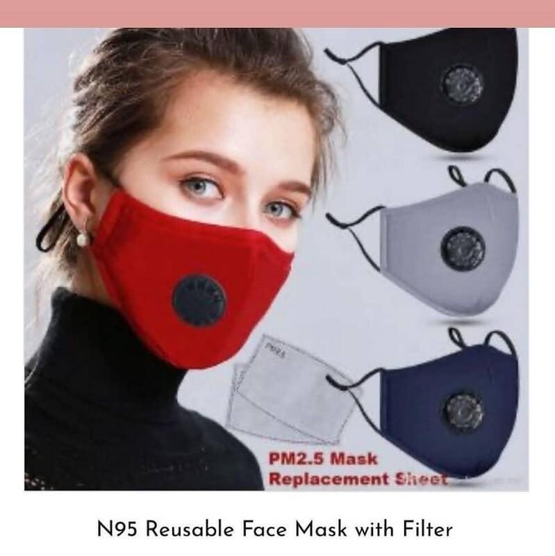 Reusable  Face Mask w/ N95 filter & Breathing Valve