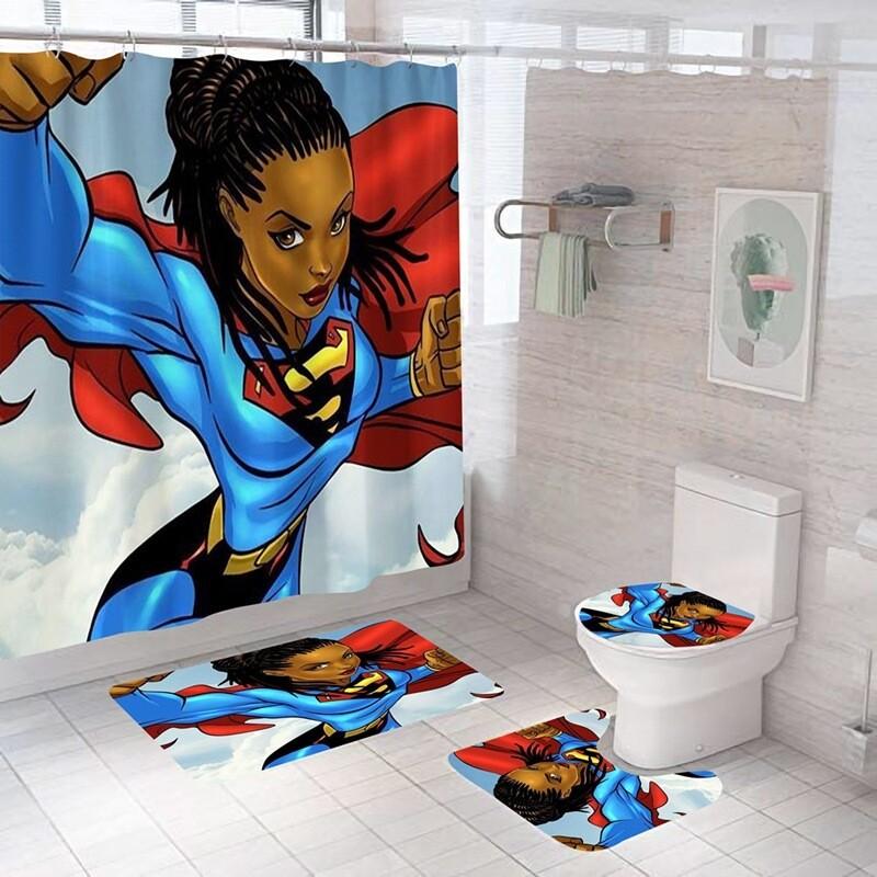 4-piece Bathroom Set (Super Black Woman)