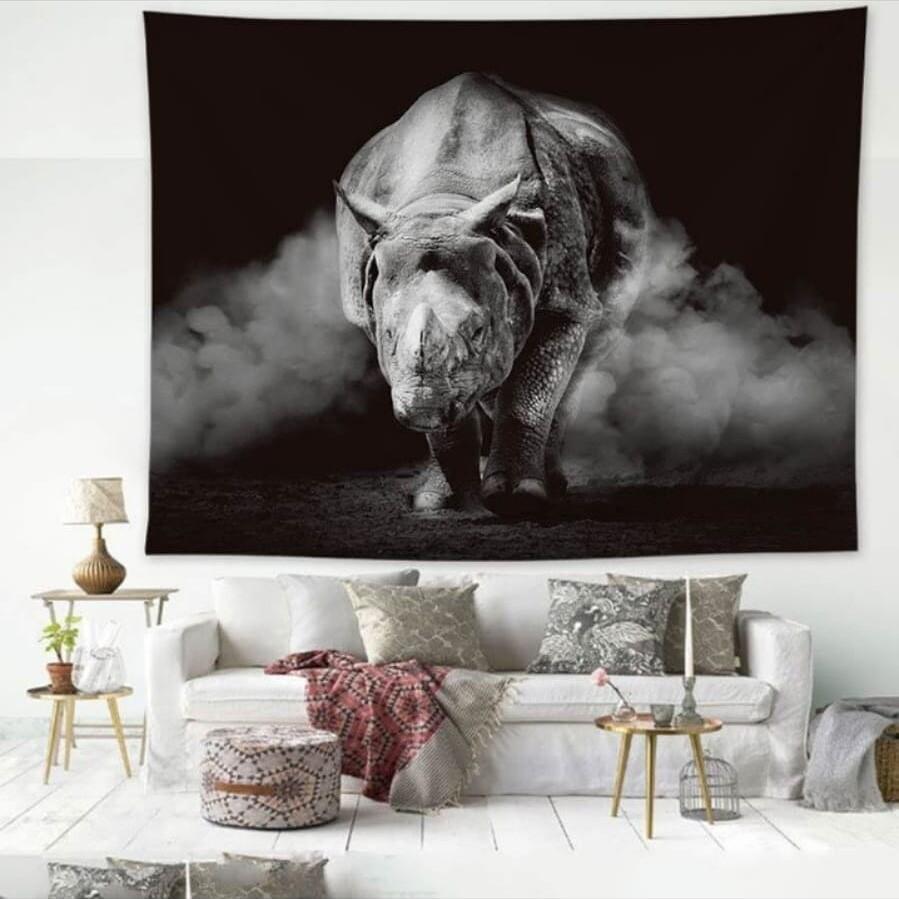 Retro Rhino Tapestry