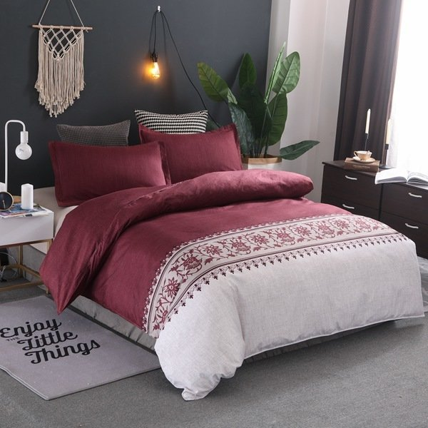 Claret Red Lily of the Valley Duvet Cover Set