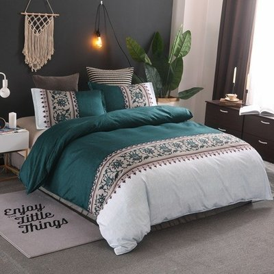 Peacock Teal  Lily of the Valley Duvet Cover Set