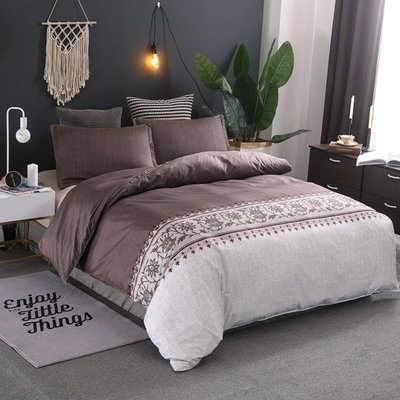 Brown  Lily of the Valley Duvet Cover Set