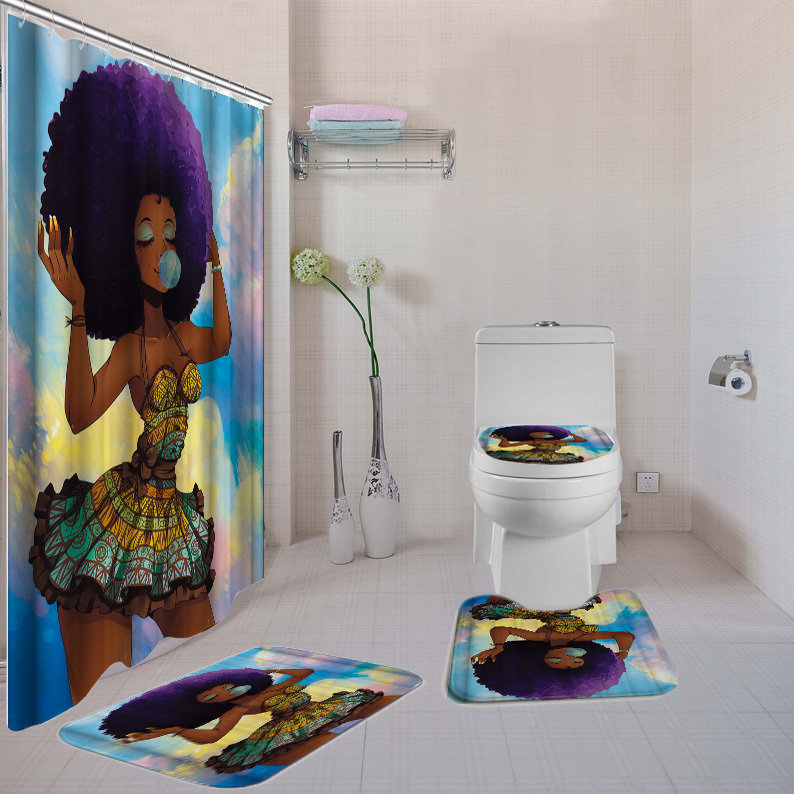 4-piece  Bathroom Set (Purple Black Girl Magic )