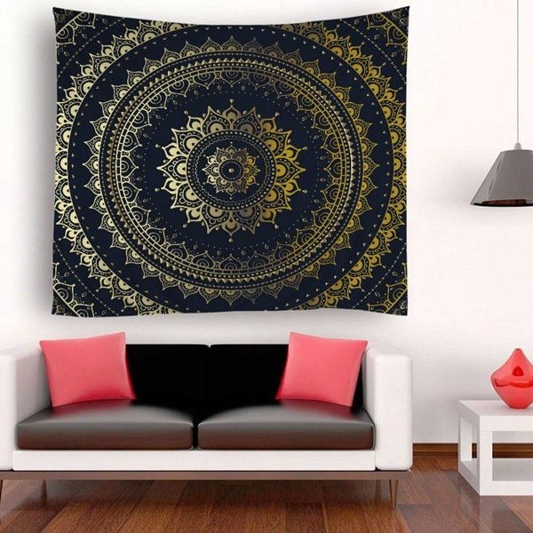Black & Gold Circle Tapestry