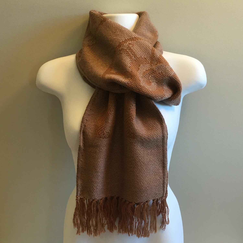 Foulard unisexe réversible brun en laine d'alpaga