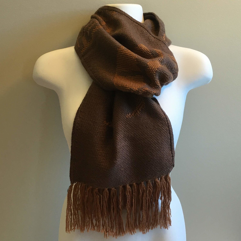 Foulard unisexe réversible brun chocolat en laine d'alpaga