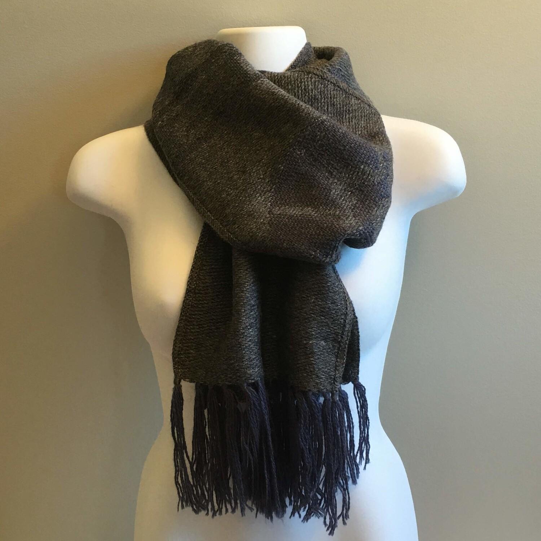 Foulard unisexe réversible gris en laine d'alpaga