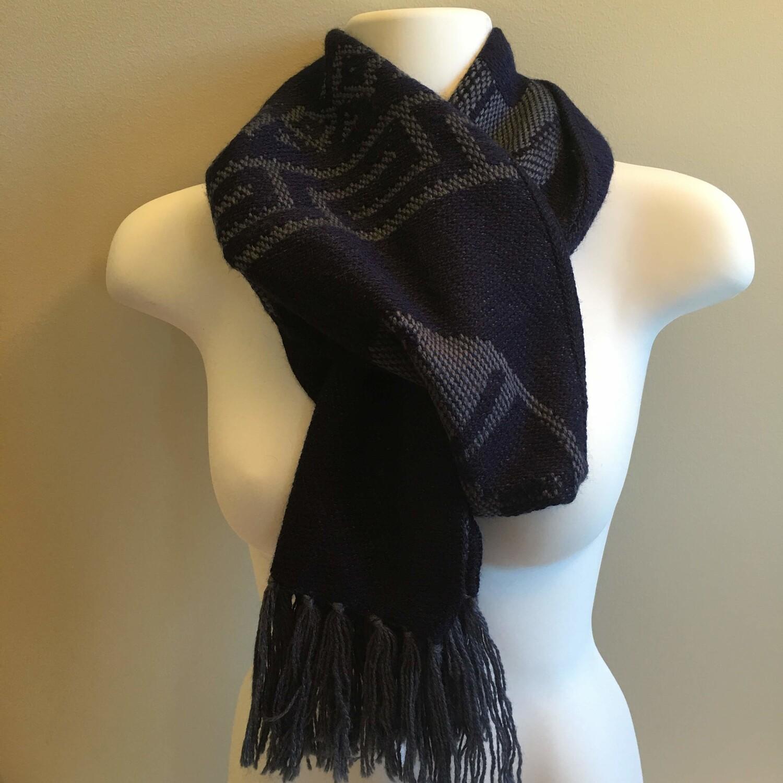 Foulard unisexe réversible bleu royal en laine d'alpaga