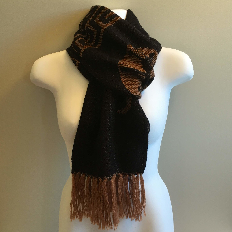 Foulard unisexe réversible noir en laine d'alpaga