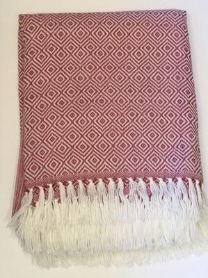 Couverture rose pâle en alpaga avec motifs géométriques