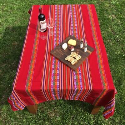 Nappe péruvienne rouge en tissu awayo (manta), provenant du centre du Pérou, boho décor