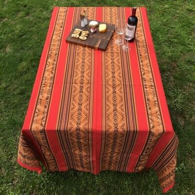 Nappe péruvienne rouge pâle en tissu awayo (manta), provenant du sud de Pérou, boho décor