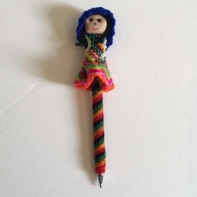 Crayon original fillette péruvienne couleur bleu, boho produits
