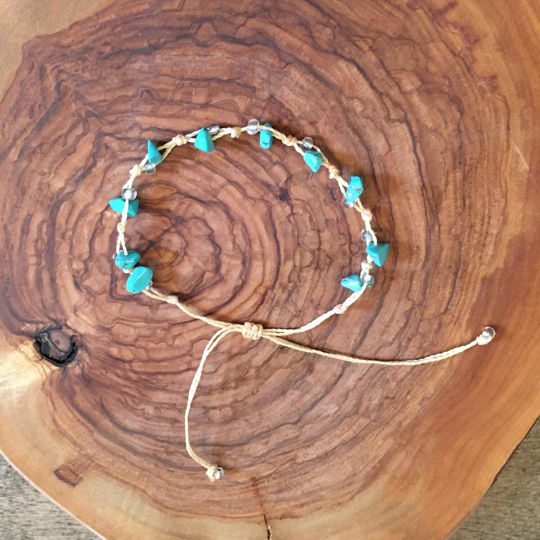 Bracelet décontracté de pierres turquoises, boho design