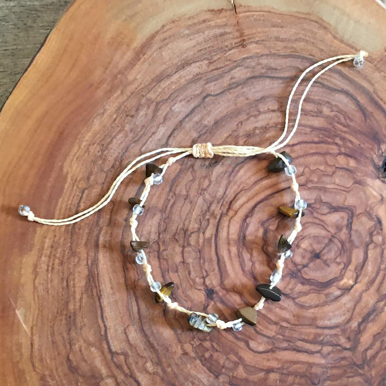 Bracelet décontracté en quartz d'œil de tigre, boho design
