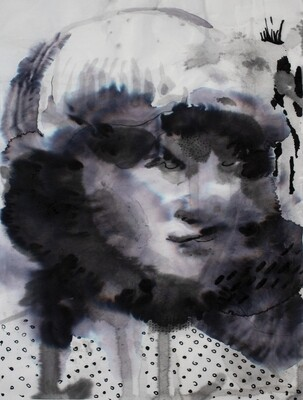Splashes 02 | Sumi-Ink | Portrait Painting | Bartosz Beda | Figurative Abstract