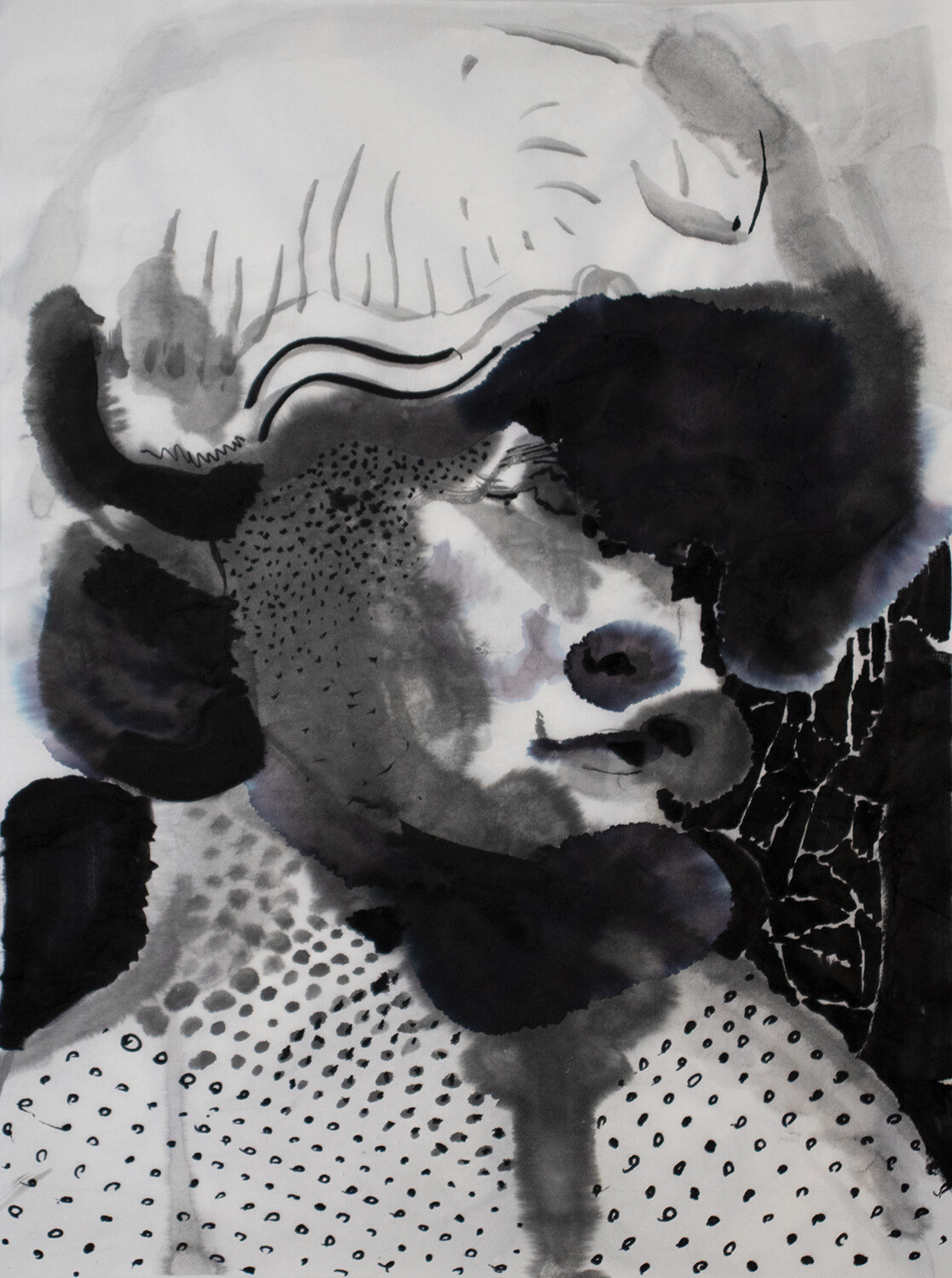 Splashes 03 | Sumi-Ink | Portrait Painting | Bartosz Beda | Figurative Abstract