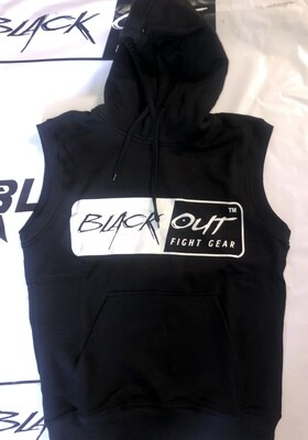 BLACK OUT SLEEVELESS HOODIE