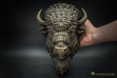 American Bison animal portrait wall sculpture