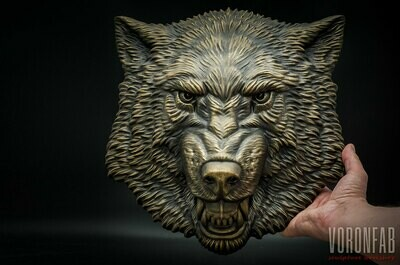 Growling Wolf Face relief sculpture wall decor