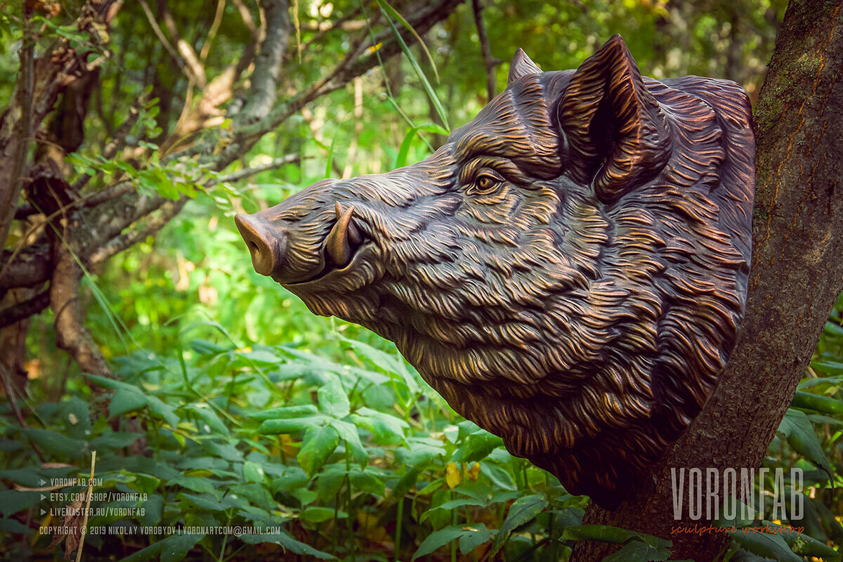 Large Wild Boar animal portrait wall Sculpture